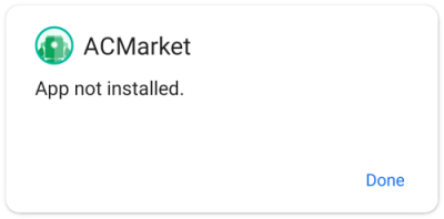 acmarket app not installed error