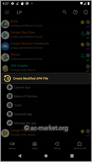 lucky patcher create modified apk